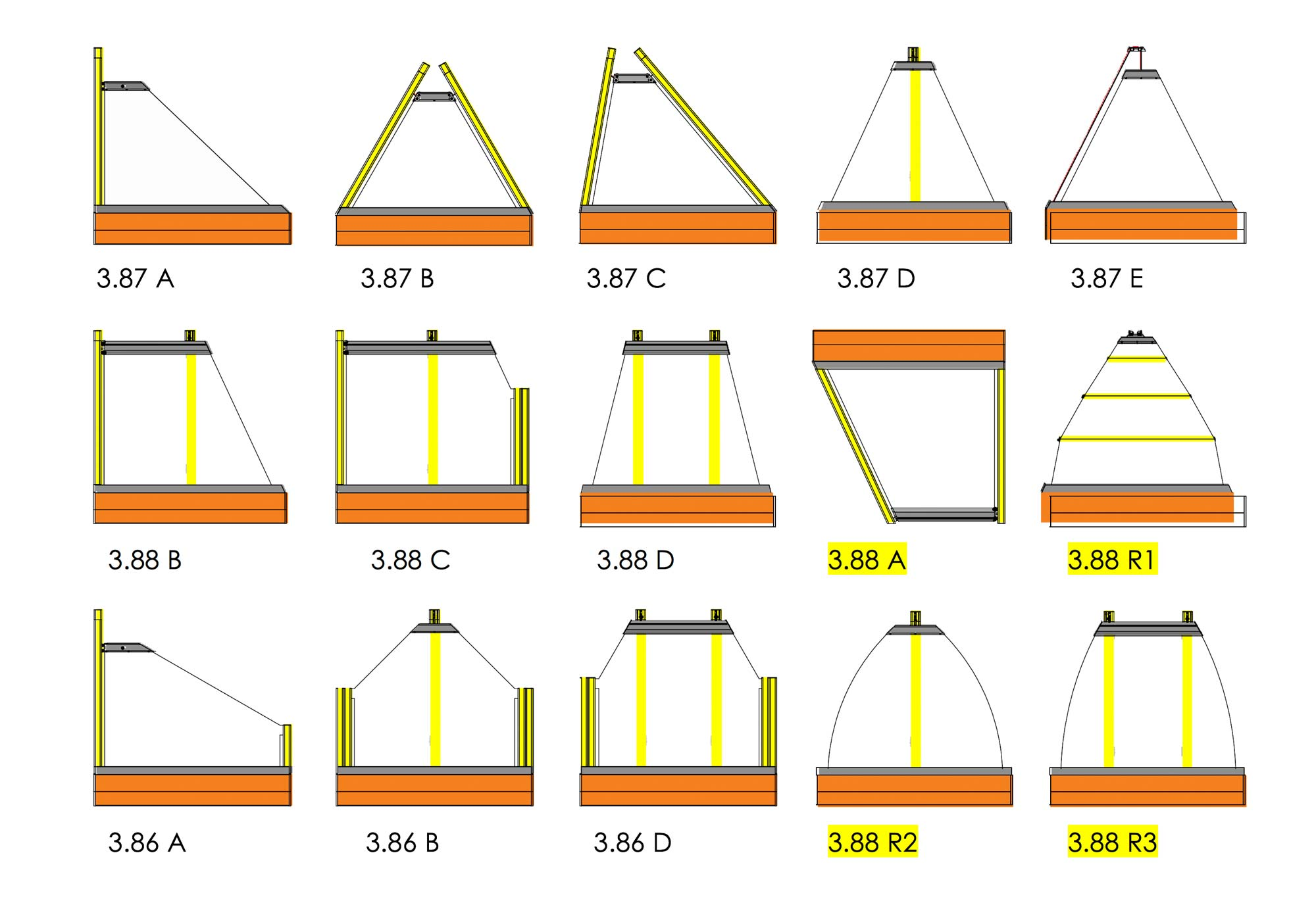 asymmetrische Textilscreens